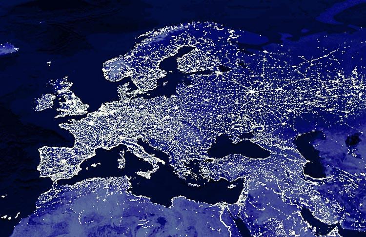 Europa bij nacht. (c) der spiegel e.a. 2009